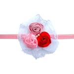 Повязка 3 розы с кружевом