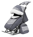 Санки-коляска Pikate Скандинавия серый