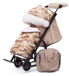 Санки-коляска Pikate Military Compact Бежевый