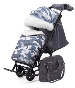 Санки-коляска Pikate Military Compact Серый