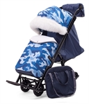 Коляска-санки Pikate Military Compact синий