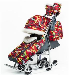 Санки-коляска Pikate Military красный