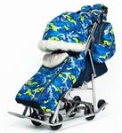 Санки-коляска Pikate Military синий