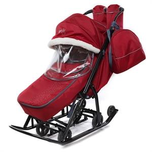 Санки-коляска Pikate Снеговик бордо